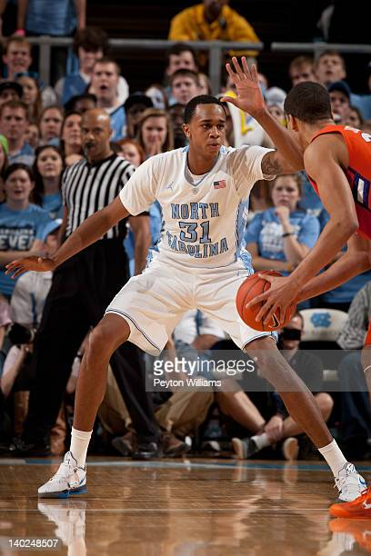 John Henson of the North Carolina Tar Heels guards during a game against the Clemson Tigers on February 18, 2012 at the Dean E. Smith Center in...