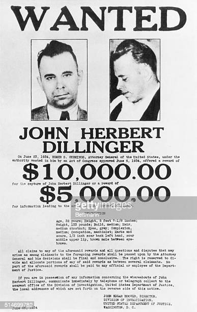 John Herbert Dillinger public enemy no 1 in all police stations of the nation is the target of this circular broadside just distributed by the...
