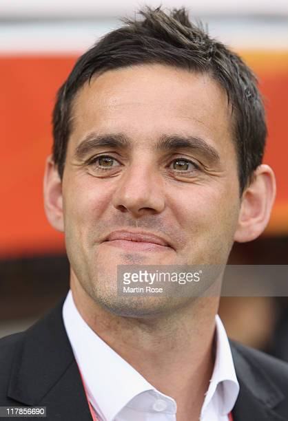 John Herdman head coach of New Zealand looks on before the FIFA Women's World Cup 2011 Group B match between New Zealand and England at...