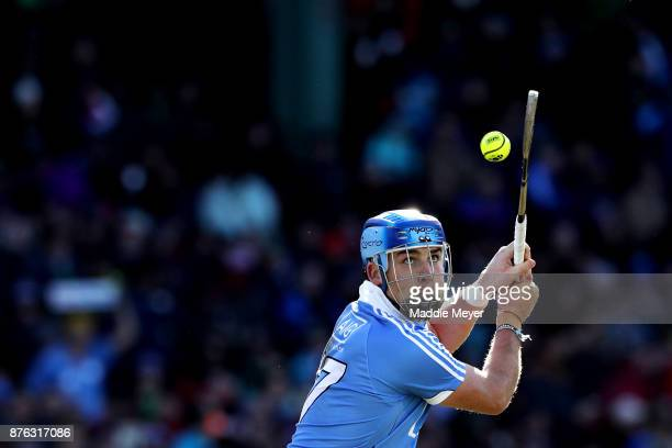 John Hetherton of Dublin takes a shot against Galway during the 2017 AIG Fenway Hurling Classic and Irish Festival at Fenway Park on November 19 2017...