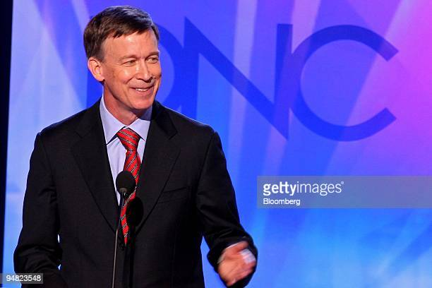 John Hickenlooper Denver's mayor speaks during day one of the 2008 Democratic National Convention in Denver Colorado US on Monday Aug 25 2008 The DNC...
