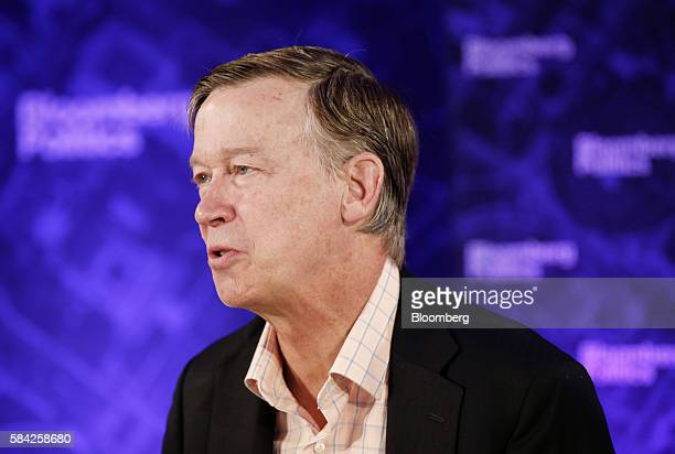 John Hickenlooper governor of Colorado speaks during a Bloomberg Politics interview on the sidelines of the Democratic National Convention in...