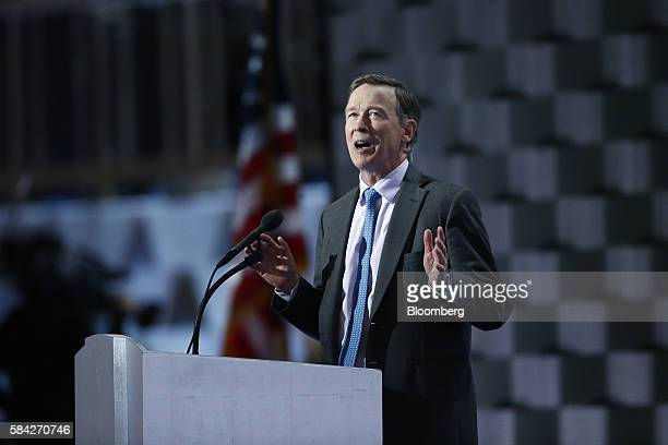John Hickenlooper governor of Colorado speaks during the Democratic National Convention in Philadelphia Pennsylvania US on Thursday July 28 2016...