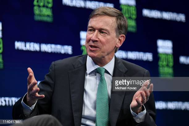 John Hickenlooper participates in a panel discussion during the annual Milken Institute Global Conference at The Beverly Hilton Hotel on April 30...