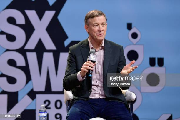 John Hickenlooper speaks onstage at Conversations About America's Future Former Governor John Hickenlooper during the 2019 SXSW Conference and...