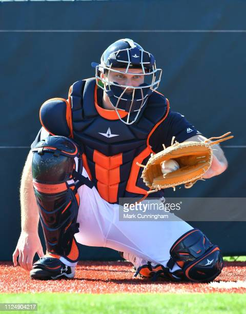 John Hicks of the Detroit Tigers catches a baseball during Spring Training workouts at the TigerTown Complex on February 14 2019 in Lakeland Florida