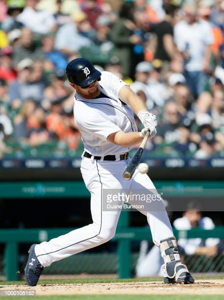 John Hicks of the Detroit Tigers gets a hit against the Texas Rangers at Comerica Park on July 7 2018 in Detroit Michigan