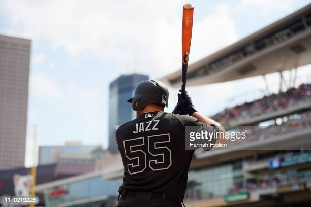 John Hicks of the Detroit Tigers prepares to take an at bat against the Minnesota Twins during the game on August 25 2019 at Target Field in...