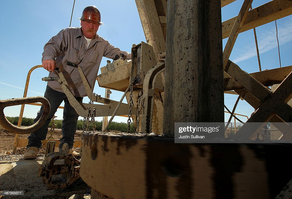 John Hicks with Arthur & Orum Well Drilling operates a well drilling a new well at a farm on April 29, 2014 near Mendota, California. As the California drought continues, Central California farmers are hiring well drillers to seek water underground for their crops after the U.S. Bureau of Reclamation stopped providing Central Valley farmers with any water from the federally run system of reservoirs and canals fed by mountain runoff.