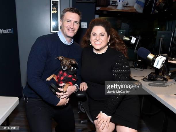 John Hill and Marissa Jaret Winokur in studio at SiriusXMat SiriusXM Studios on March 13 2018 in New York City