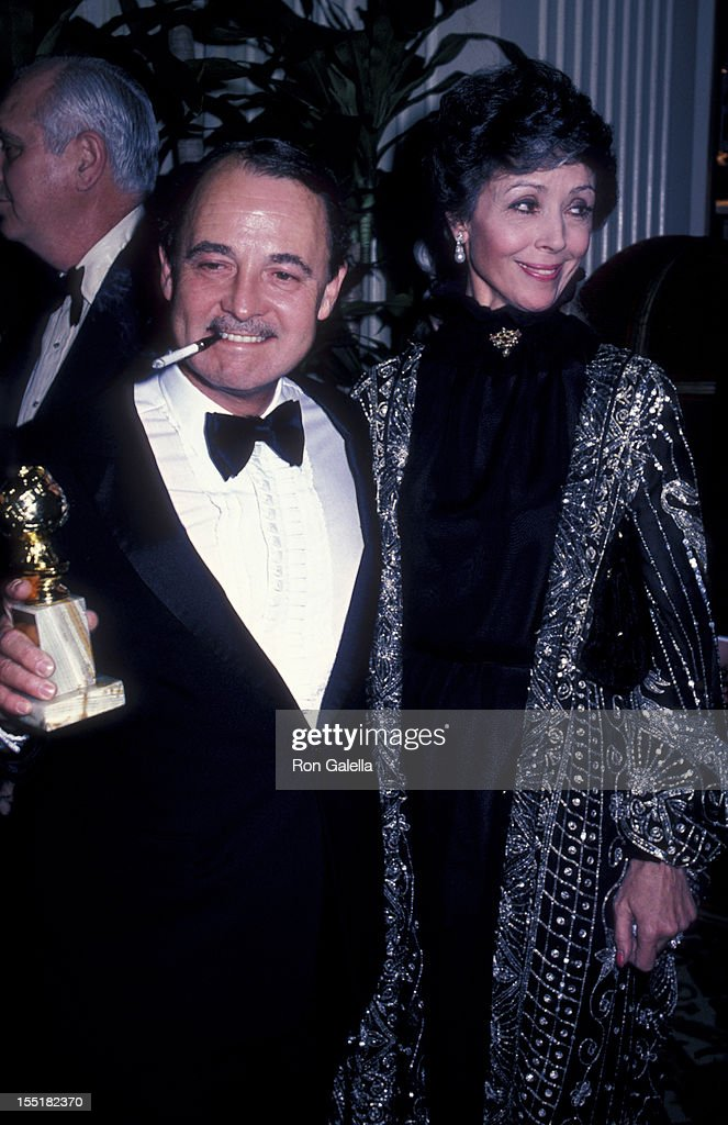 John Hillerman and actress Dana Wynter attend 39th Annual Golden Globe Awards on January 30, 1982 at the Beverly Hilton Hotel in Beverly Hills, California.