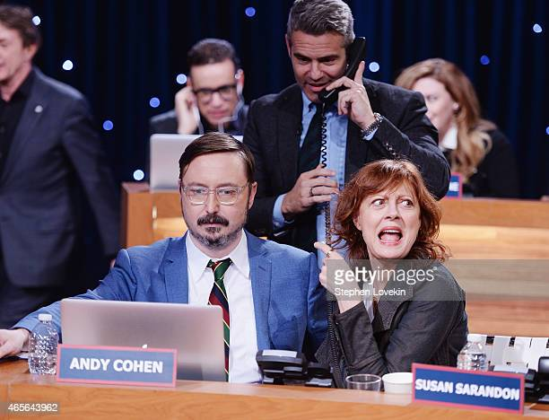 John Hodgman Andy Cohen and Susan Sarandon attend The Night Of Too Many Start Live Telethon on March 8 2015 in New York City