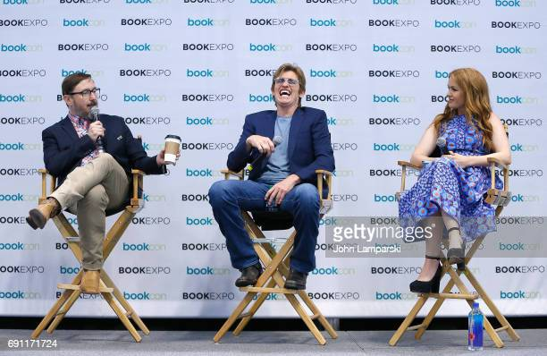 "John Hodgman, Denis Leary and Isla Fisher speak during ""Do I Amuse You"" panel at the BookExpo 2017 at Javits Center on June 1, 2017 in New York City."
