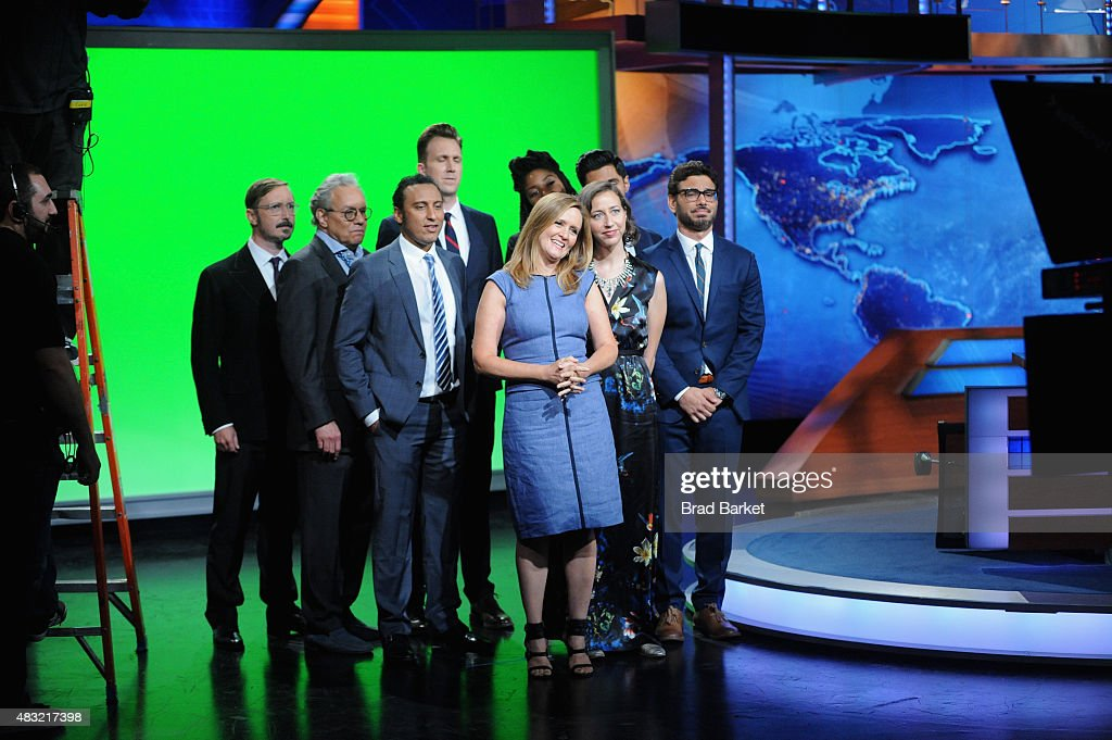 John Hodgman, Lewis Black, Aasif Mandvi, Jordan Klepper, Samantha Bee, Jessica Williams, Kristen Schaal, Hasan Minhaj and Al Madrigal appear on 'The Daily Show with Jon Stewart' #JonVoyage on August 6, 2015 in New York City.