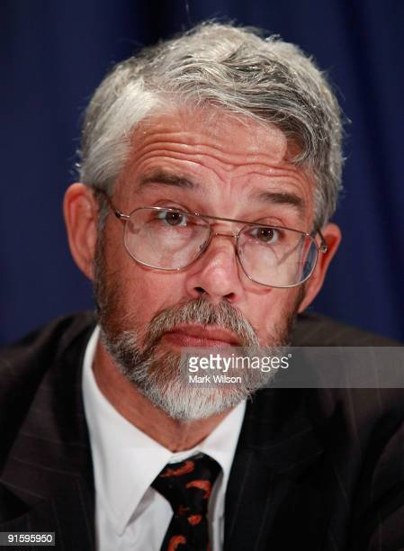 John Holdren, advisor to the President for Science and Technology participates in a news conference with Agriculture Secretary Tom Vilsack at the...