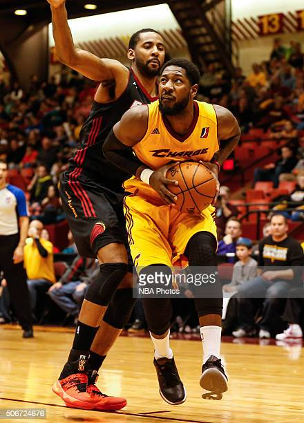 John Holland of the Canton Charge drives to the basket against the Sioux Falls Skyforce at Canton Memorial Civic Center on January 23 2016 in Canton...