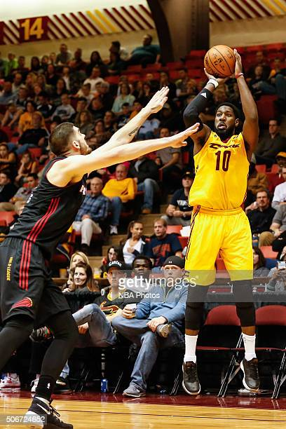 John Holland of the Canton Charge shoots the ball against the Sioux Falls Skyforce at Canton Memorial Civic Center on January 23 2016 in Canton Ohio...