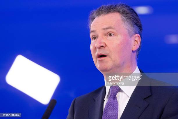 John Holland-Kaye, chief executive office of Heathrow Airport Ltd., speaks during a news conference in Terminal 5 at London Heathrow Airport in...