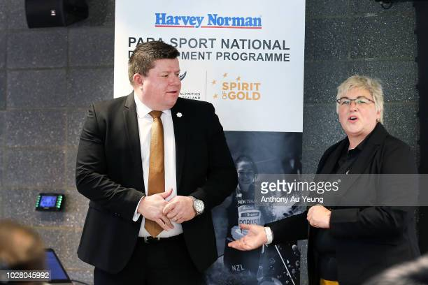 John Hollings of Harvey Norman is introduced by Catriona McBean of Paralympics New Zealand during the Harvey Norman National Development Programme...