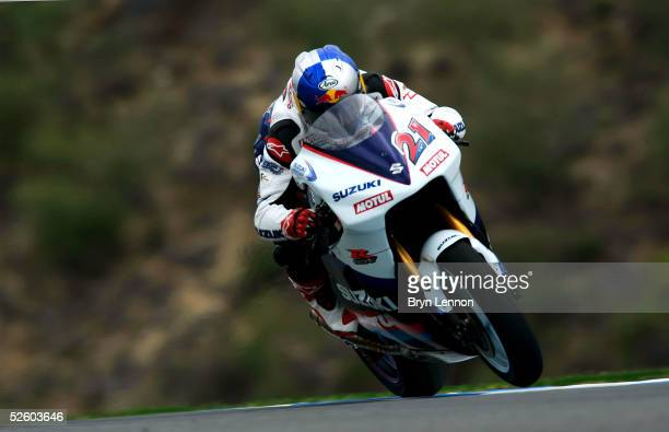 John Hopkins of the USA and Suzuki in action during second practice for the Spanish MotoGP at the Circuito de Jerez on April 8 2005 in Jerez Spain