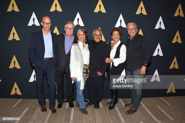 John Horn Peter Burrell Rose Portillo Luis Valdez Alma Martinez and Edward James Olmos attend the Academy Museum of Motion Pictures Screens 'Zoot...