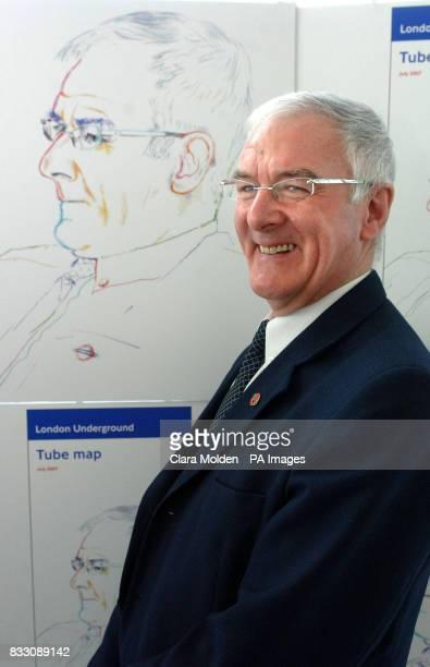 John Hough Transport for London's current longestserving member of staff poses in front of a drawing of himself by Turner prize winner Jeremy Deller...