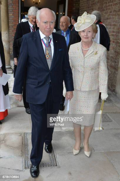 John Howard former Prime Minister of Australia with wife Jannette arrive at St James's Palace for a service for members of The Order of The Merit at...