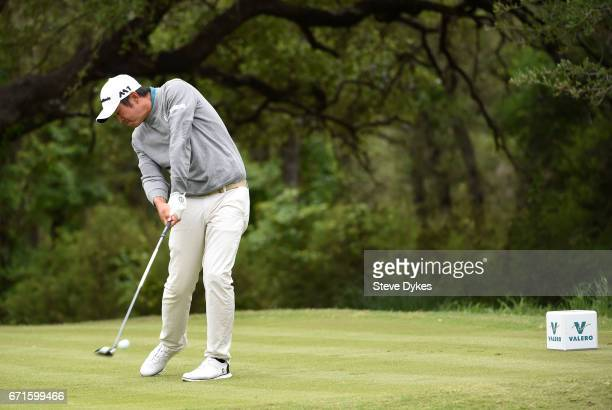 John Huh plays his shot from the sixth tee during the third round of the Valero Texas Open at TPC San Antonio ATT Oaks Course on April 22 2017 in San...
