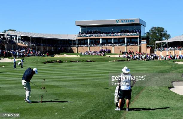 John Huh plays his shot on the 18th hole during the final round of the Valero Texas Open at TPC San Antonio ATT Oaks Course on April 23 2017 in San...