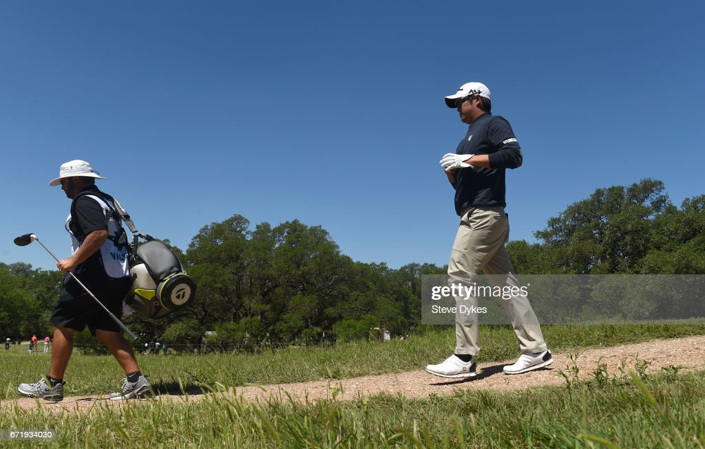 John Huh walks from the second tee during the final round of the Valero Texas Open at TPC San Antonio AT&T Oaks Course on April 23, 2017 in San Antonio, Texas.