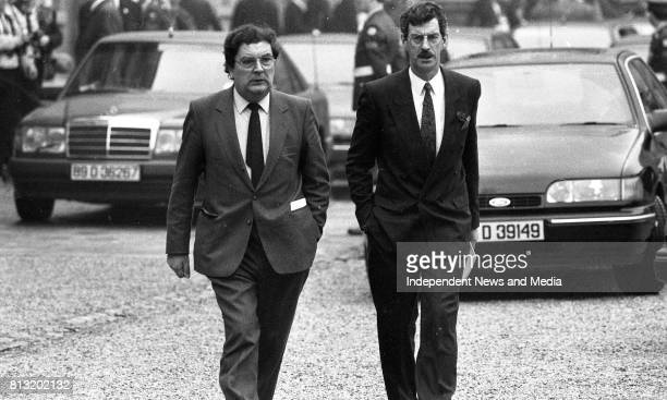 John Hume and Dick Spring arrivng at Dublin Castle for the Inauguration of the New President of Ireland Mary Robinson