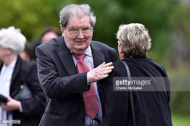 John Hume arrives for the funeral of the late retired Bishop of Derry Dr Edward Daly as he lies in state at St Eugene's Cathedral on August 11 2016...