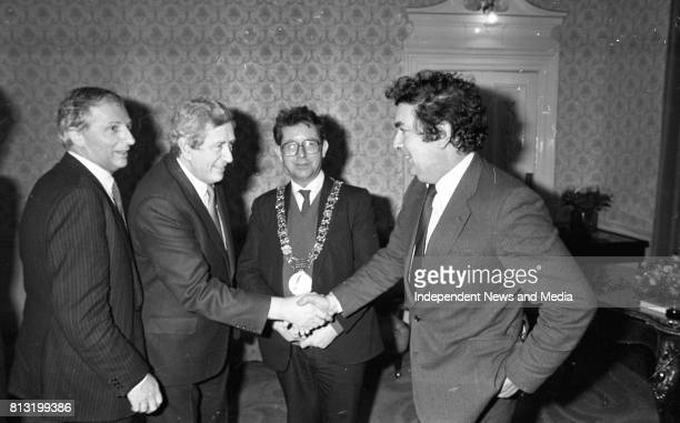 John Hume Garret Fitzgerald and Lord Mayor of Dublin Michael O'Halloran at the Launch of the book 'John Hume Statesman of the Troubles' at the...