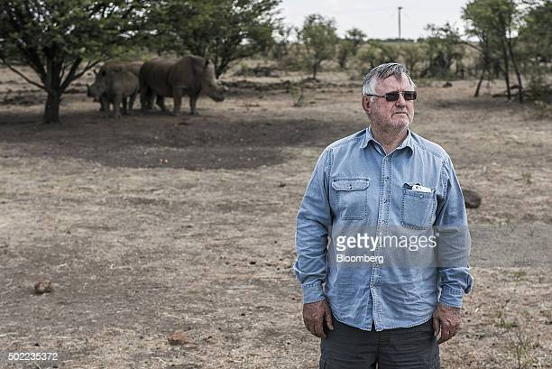 John Hume hotel magnate and rhino farmer poses for a photograph on his ranch outside Johannesburg South Africa on Friday Dec 4 2015 White and black...