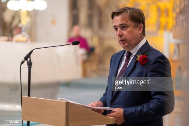 John Hume Jr speaks as the funeral takes place of his father former SDLP leader and Nobel Peace Prize winner John Hume at St Eugene's cathedral on...