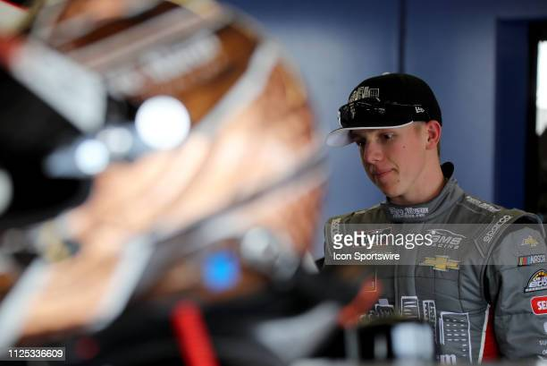 John Hunter Nemecheck GMS Racing Chevrolet Camaro Fire Alarm Services during qualifying for the NASCAR Racing Experience 300 on February 16 2019 at...