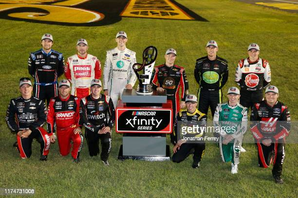 John Hunter Nemechek driver of the Berry's Manufacturing Chevrolet Justin Allgaier driver of the BRANDT Professional Agriculture Chevrolet Noah...