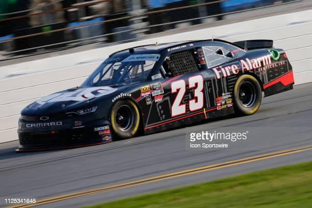 John Hunter Nemechek driver of the GMS Racing Fire Alarm Services INC Chevrolet during the NASCAR Racing Experience 300 on February 16 2019 at...