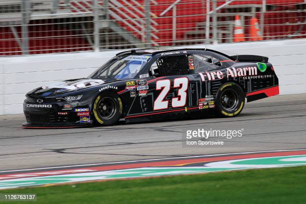 John Hunter Nemechek, GMS Racing, Chevrolet Camaro Fire Alarm Services, INC during practice for the Rinnai 250 NASCAR Xfinity Series race on February...