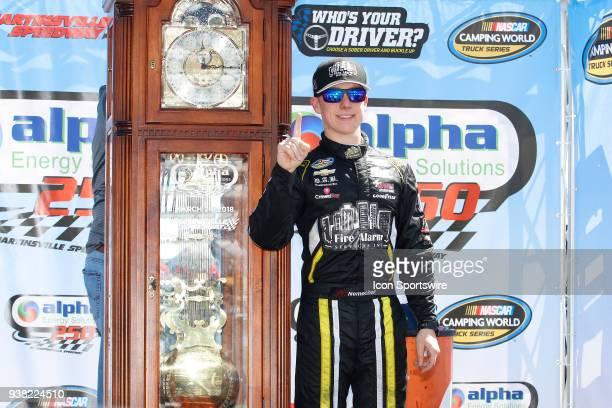 John Hunter Nemechek NEMCO Motorsports Chevrolet Silverado wins the weather delayed running of the NASCAR Camping World Truck Series Alpha Energy...