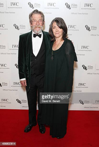 John Hurt and Ann Rees Meyers attend the BFI London Film Festival IWC Gala Dinner in honour of the BFI at Battersea Evolution Marquee on October 7...