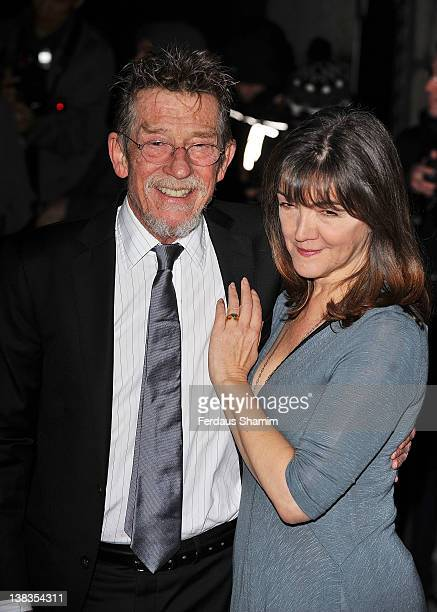John Hurt and Anwen Rees Meyers attend London Evening Standard British Film Awards at the London Film Museum on February 6 2012 in London England