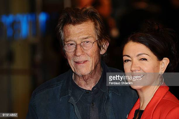 John Hurt and Anwen Rees Meyers attend the Gala Screening of 'Men Who Stare At Goats' during The Times BFI London Film Festival at Odeon Leicester...