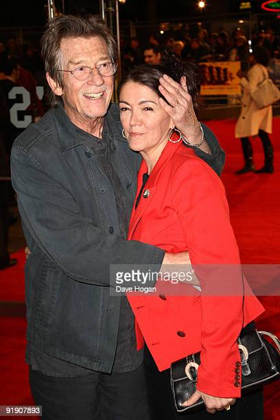 John Hurt and Anwen Rees Meyers attend the premiere of 'The Men Who Stare at Goats' during The Times BFI London Film Festival held at the Odeon...