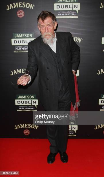 John Hurt attends a screening of 'Calvary' the opening gala for the Jameson Dublin International Film Festival at Savoy on February 13 2014 in Dublin...