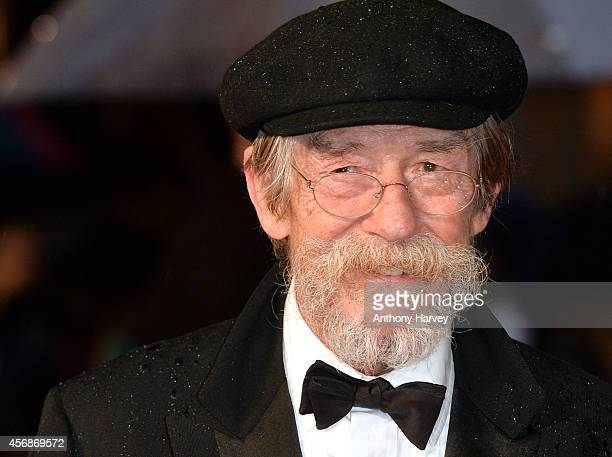 """John Hurt attends the opening night gala screening of """"The Imitation Game"""" during the 58th BFI London Film Festival at Odeon Leicester Square on..."""