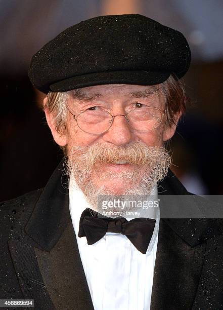 John Hurt attends the opening night gala screening of The Imitation Game during the 58th BFI London Film Festival at Odeon Leicester Square on...