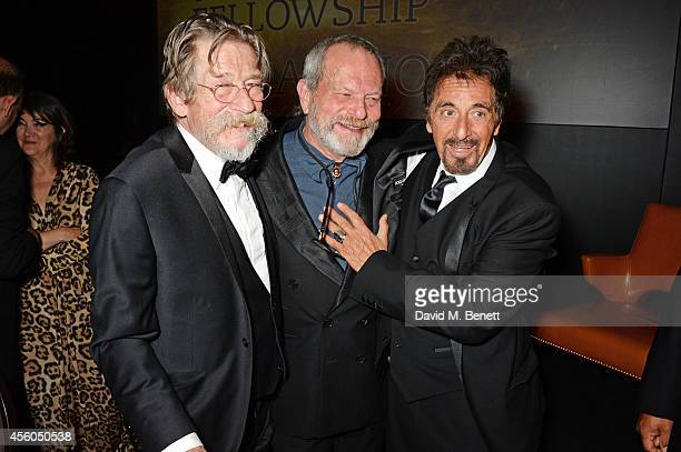 John Hurt Terry Gilliam and Al Pacino attend the Al Pacino BFI Fellowship Dinner supported by Moet Chandon at the Corinthia Hotel London on September...