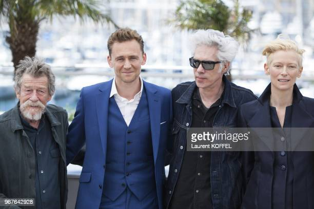 John Hurt, Tom Hiddleston, Director Jim Jarmusch and Tilda Swinton attend the 'Only Lovers Left Alive' photocall during The 66th Annual Cannes Film...