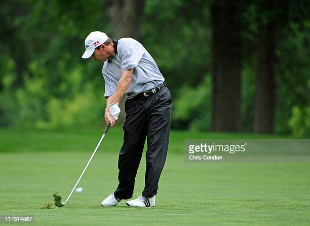 John Huston plays from the 5th fairway during the second round of the DickÕs Sporting Goods Open at EnJoie Golf Course on June 25 2011 in Endicott...